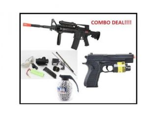 1:1 Scale RED DOT VERSION, Laser included M16 Airsoft Gun Electric Automatic Air Soft Rifle FULL AUTO AEG 350 FPS !! + 180 FPS Airsoft Pistol Flashlight, laser + 800 Count Grenade BB's