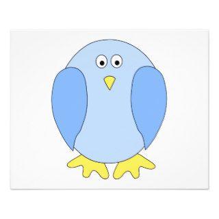 Cute Light Blue Bird Cartoon. Flyers