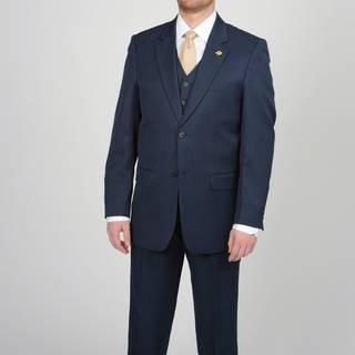 Stacy Adams Mens Navy 2 button Vested Suit
