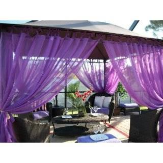 Outdoor Gazebo Patio Drapes Purple Berry Sheer Tie Tops 84 Includes