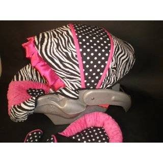 Baby Bella Maya Infant Car Seat Cover in Zebra with Pink Ruffle Baby